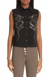 Alexander Wang Safety Pin Mesh Back Blouse   Nordstrom at Nordstrom