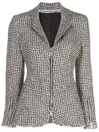 Alexander Wang Tweed Moto Zip Jacket - Farfetch at Farfetch