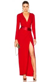 Alexandre Vauthier Long Sleeve Maxi Dress in Crimson Red   FWRD at Forward