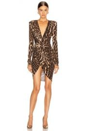 Alexandre Vauthier for FWRD Plunging Ruched Mini Dress in Animal   FWRD at Forward