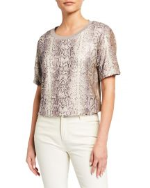 Alexi Sequined Snake-Print Cropped Tee at Last Call
