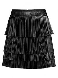 Alexis - Briana Leather Pleated Tiered Skirt at Saks Fifth Avenue