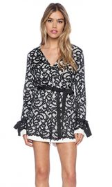 Alexis Aine Long Sleeve Romper in Black White from Revolve com at Revolve