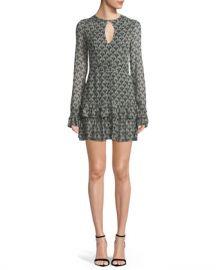Alexis Alba Printed Keyhole Flounce Mini Dress at Neiman Marcus