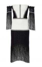 Alexis Antoinette Embroidered Fringed Midi Dress  Black White at Neiman Marcus