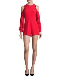 Alexis Asher Button-Trim Cold-Shoulder Romper at Neiman Marcus