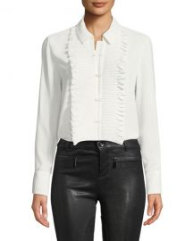 Alexis Avette Hook-Front Top with Pleated Ruffle Bib at Neiman Marcus