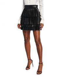 Alexis Briana Pleated Leather Mini Skirt at Neiman Marcus