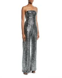 Alexis Carleen Sequin Strapless Wide-Leg Jumpsuit at Neiman Marcus