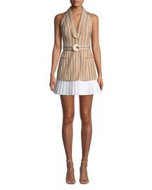 Alexis Carmona Striped Belted Short Dress at Neiman Marcus