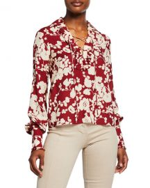Alexis Daina Floral-Print Long-Sleeve Shirt at Neiman Marcus