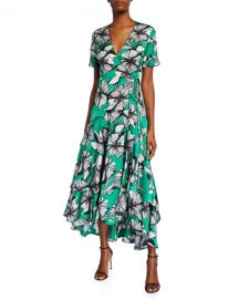 Alexis Deanna Floral-Print Short-Sleeve Wrap Dress at Neiman Marcus