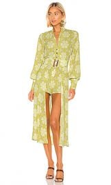 Alexis Derby Romper with Cape in Lime Mosaic from Revolve com at Revolve