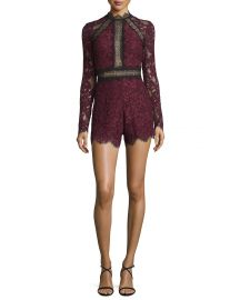 Alexis Eva Long-Sleeve Lace Romper  Plum at Neiman Marcus
