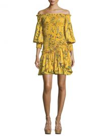 Alexis Gemina Off-the-Shoulder Floral-Print Dress at Neiman Marcus