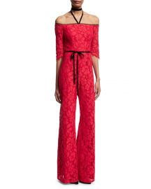 Alexis Joaquin Lace Jumpsuit  Red at Neiman Marcus