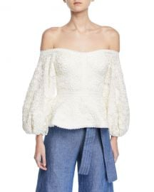 Alexis Joscelin Embroidered Puff-Sleeve Top at Neiman Marcus