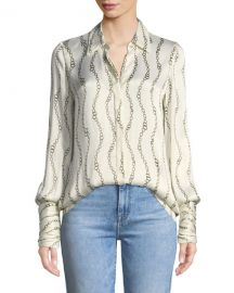 Alexis Laura Printed Button-Front Top at Neiman Marcus