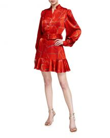 Alexis Lishan Fire-Print Tie-Neck Belted Mini Dress at Neiman Marcus