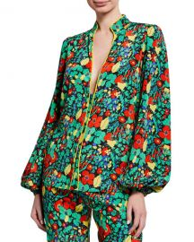 Alexis Minu Plunging Floral-Print Blouson-Sleeve Top at Neiman Marcus