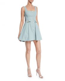 Alexis Nena Square-Neck Button-Front Short Dress at Neiman Marcus