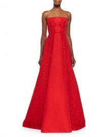 Alexis Neuss Strapless Gown w Lace Sides at Neiman Marcus