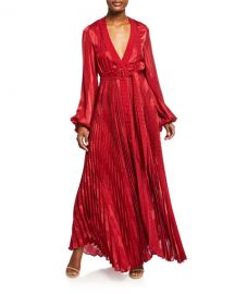 Alexis Salomo Pleated Long-Sleeve Maxi Dress w  Belt at Neiman Marcus