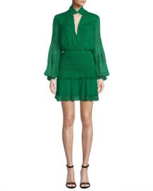 Alexis Shaina Smocked Blouson-Sleeve Ruffle Dress at Neiman Marcus