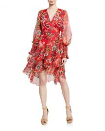 Alexis Sidony Floral-Print Flounce Wrap Dress at Neiman Marcus