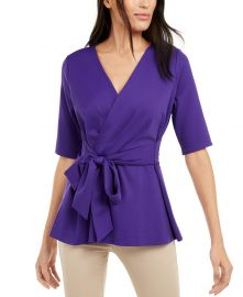 Alfani Petite Faux-Wrap Elbow-Sleeve Top  Created For Macy s   Reviews - Tops - Petites - Macy s at Macys