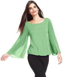 Alfani Petite Pleat-Sleeve Blouson Top in green at Macys
