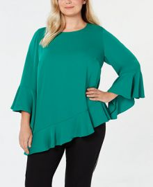 Alfani Plus Size Asymmetrical Bell-Sleeve Top  Created for Macy s Plus Sizes -  Tops - Macy s at Macys