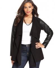 Alfani Plus Size Long-Sleeve Faux-Leather Cardigan - Plus Size Sweaters - Plus Sizes - Macys at Macys