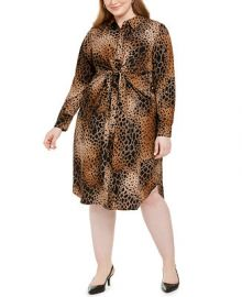 Alfani Plus Size Printed Tie-Front Shirtdress  Created For Macy s   Reviews - Dresses - Plus Sizes - Macy s at Macys
