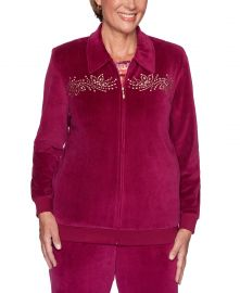 Alfred Dunner Bright Idea Embellished Velour Jacket   Berry at Macys