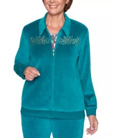Alfred Dunner Bright Idea Embellished Velour Jacket   Jade at Macys