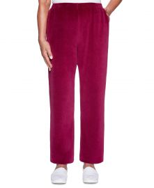 Alfred Dunner Bright Idea Proportioned Velour Pants  Berry at Macys