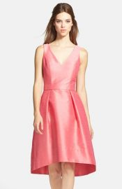 Alfred Sung Satin HighLow Fit andamp Flare Dress in Papaya at Nordstrom