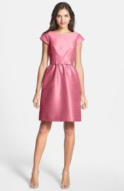 Alfred Sung Woven Fit andamp Flare Dress in Papaya at Nordstrom