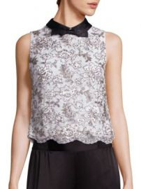 Alice   Olivia - Manie Embellished Collared Top at Saks Off 5th
