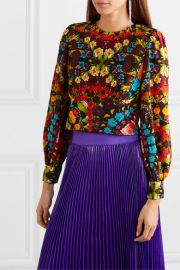Alice   Olivia - Quilla floral-print silk-chiffon blouse at Net A Porter