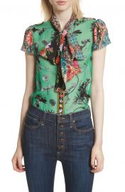 Alice   Olivia Bow Neck Mixed Print Blouse   Nordstrom at Nordstrom