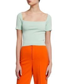 Alice   Olivia Brynn Square-Neck Fitted Pullover at Neiman Marcus