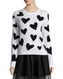 Alice   Olivia Carey Sequin-Heart Wool Pullover Sweater  White Black at Neiman Marcus