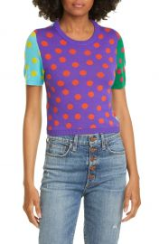 Alice   Olivia Ciara Reversible Dot Wool Blend Sweater   Nordstrom at Nordstrom