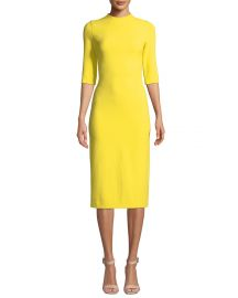 Alice   Olivia Delora Fitted Mock-Neck Midi Dress at Neiman Marcus