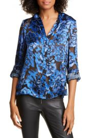 Alice   Olivia Eloise Roll Tab Floral Burnout Top   Nordstrom at Nordstrom