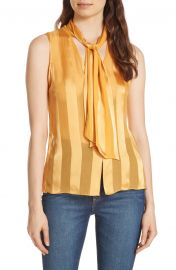 Alice   Olivia Gwenda Shadow Stripe Tie Neck Blouse at Nordstrom