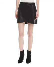 Alice   Olivia Lennon Leather Overlap Mini Skirt w  Zip-Detail at Neiman Marcus