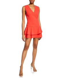Alice   Olivia Palmira V-Neck Ruffle Dress at Neiman Marcus
